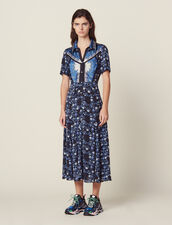 Long Flowing Printed Shirt Dress : null color Blue