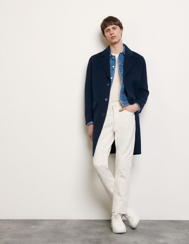 Double-sided wool coat : New Summer Collection color Navy Blue