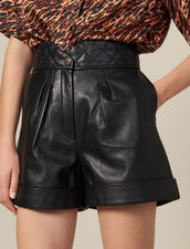 Leather Shorts With Quilted Waist : Skirts & Shorts color Black