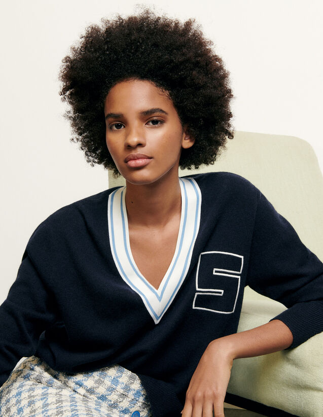 V-neck sweater with S initial : New Summer Collection color Navy Blue