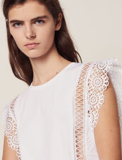 T-Shirt With Lace Braid Trims : All Selection color white