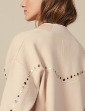 Cardi-coat trimmed with studs : Sweaters & Cardigans color Nude