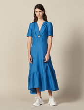 Long Dress Trimmed With A Covered Ring : All Selection color Blue Jean