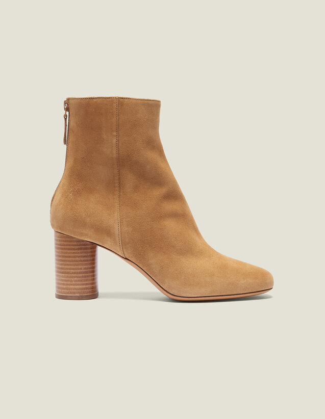 Split Leather Ankle Boots : Summer Collection color Ambre