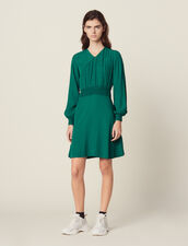 Jacquard Short Dress : null color Green