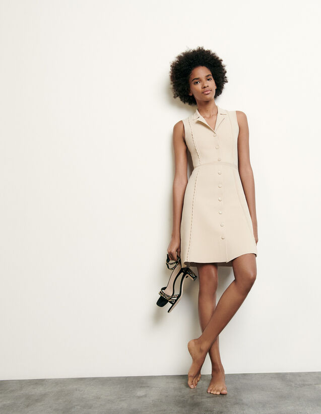 Short knitted dress with tailored collar : New Summer Collection color Beige