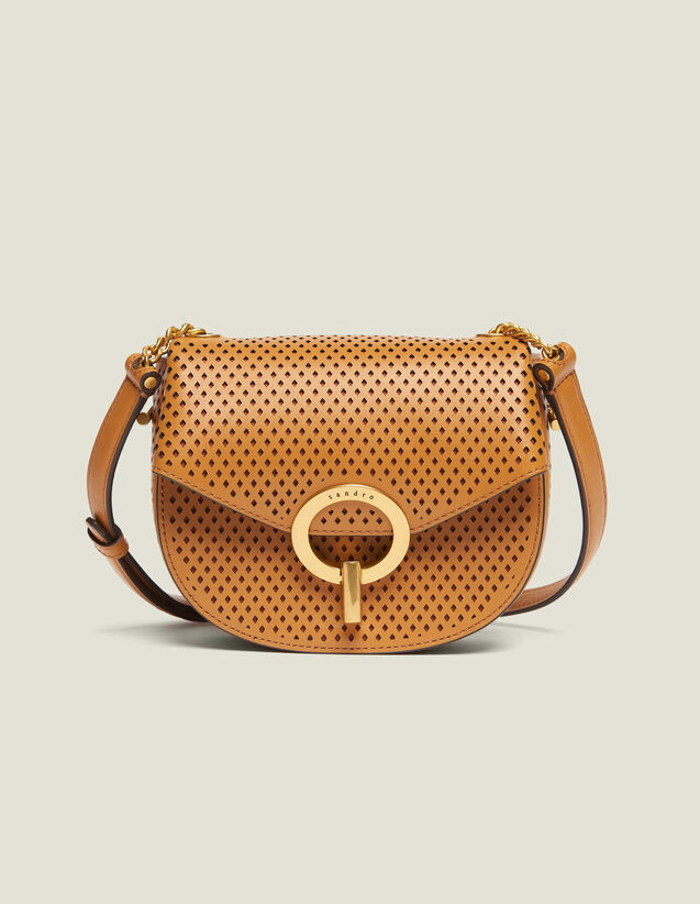 Pépita Punched Leather Bag, Small Model : All Bags color Camel