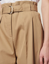 Belted High-Waisted Trousers : All Selection color Beige
