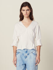 T-Shirt With Lace Back : null color Ecru