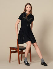 Short Knit Dress Trimmed With Studs : LastChance-ES-F40 color Black