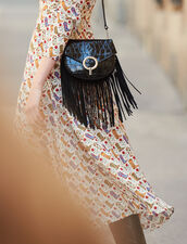 Fringed Pépita Bag, Small Model : All Winter collection color Black