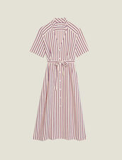 Long Shirt Dress With Narrow Stripes : null color Bordeaux