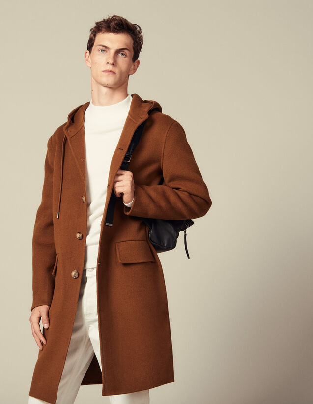 Double-sided wool parka : Trench coats & Coats color Camel