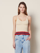 Knit Vest Top With Ruffle : All Selection color Beige