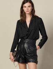 Silk shirt with V-neck : Tops & Shirts color Black