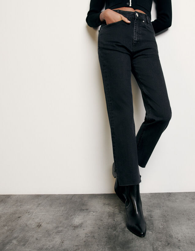 Straight-cut jeans with raw edges : New Summer Collection color Black