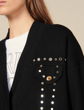 Cardi-Coat Trimmed With Studs : Sweaters & Cardigans color Black