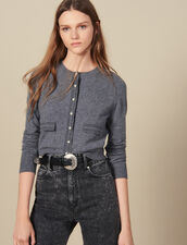 Cardigan With Contrasting Topstitching : Sweaters & Cardigans color Grey