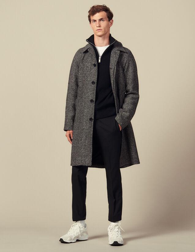 Coat With Belt : Trench coats & Coats color Noir/Gris