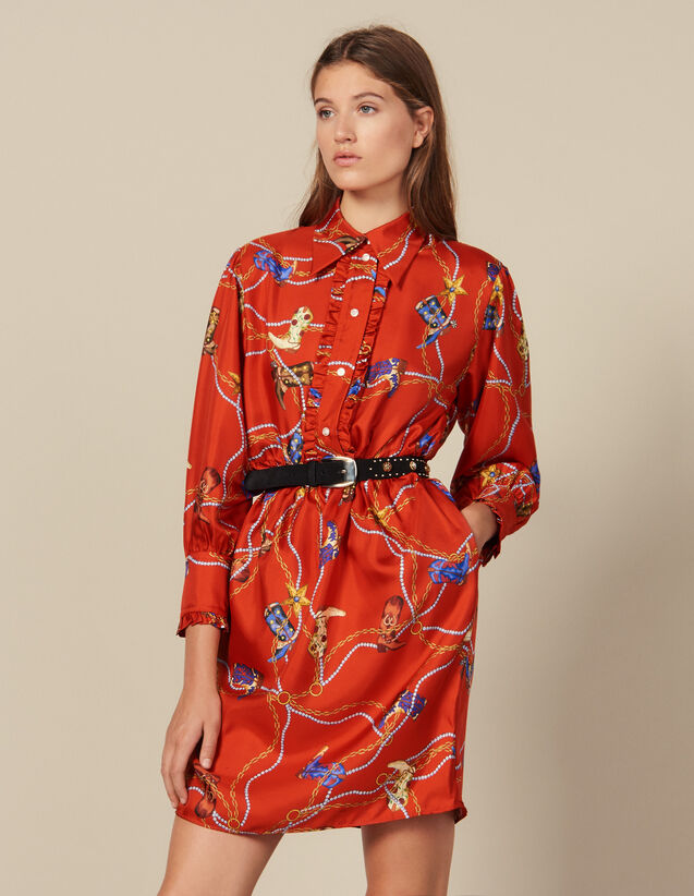 Short printed silk twill dress : FBlackFriday-FR-FSelection-50 color Red