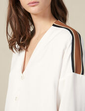 Floaty Blouse With Striped Trim : Tops & Shirts color Ecru