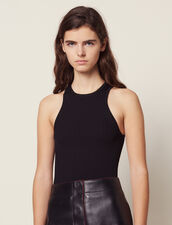 Ribbed Knit Sleeveless Top : null color Black