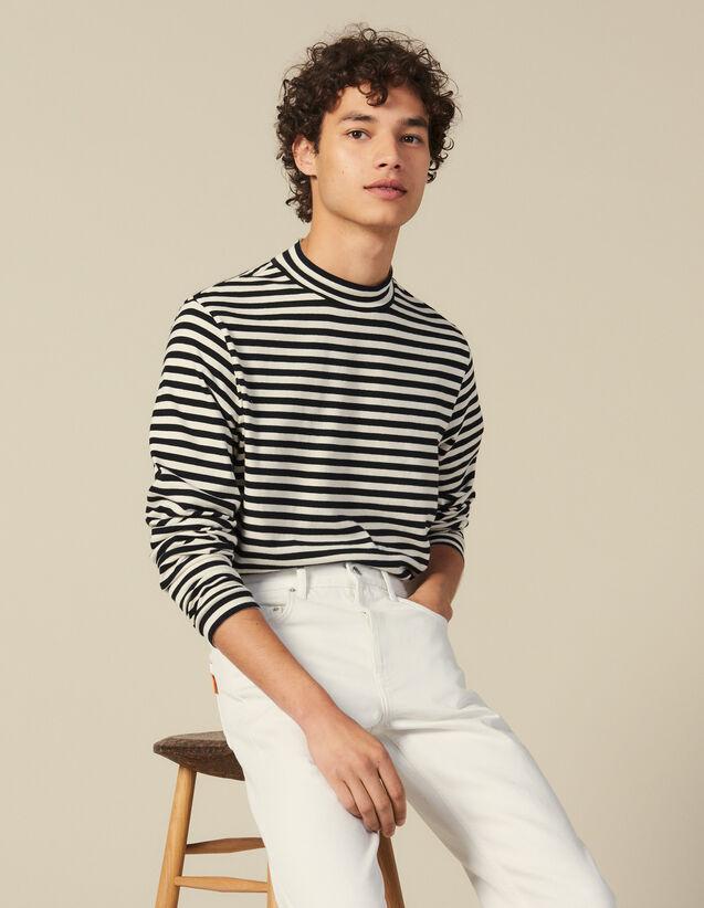 Striped funnel neck T shirt : T-shirts & Polo shirts color Black/Ecru
