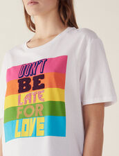 Cotton T-Shirt With Lettering : T-shirts color white