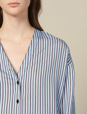 Striped Poplin Blouse : Tops & Shirts color Blue sky