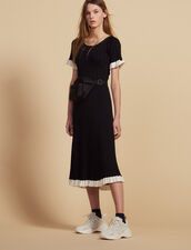 Flared Ribbed Knit Midi Dress : null color Black