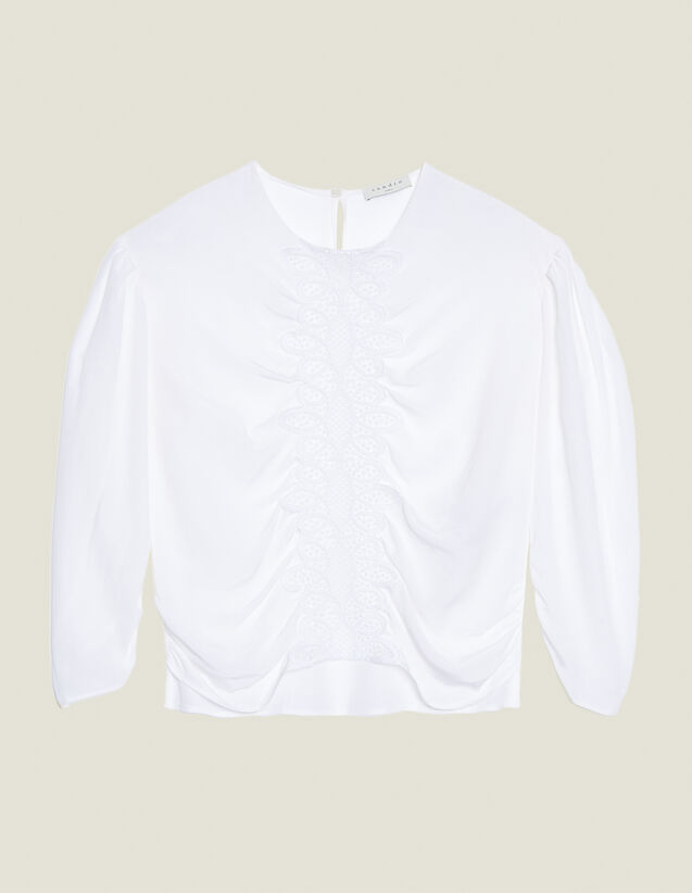 Long-Sleeved Silk Top : null color white
