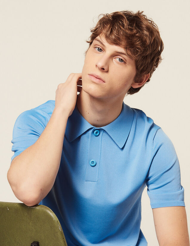 Fine Knit Polo Shirt With Short Sleeves : Sélection Last Chance color Ecru
