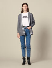 Cardi-coat with printed lining : Sweaters & Cardigans color Grey