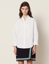 Low-Neck Shirt Trimmed With Eyelets : Tops & Shirts color white