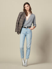 High-waisted washed jeans : LastChance-ES-F50 color Blue Vintage - Denim