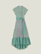 Stripy Wrap Dress : null color Green