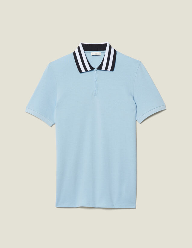 Cotton Polo Shirt With Striped Collar : New Collection color Sky Blue