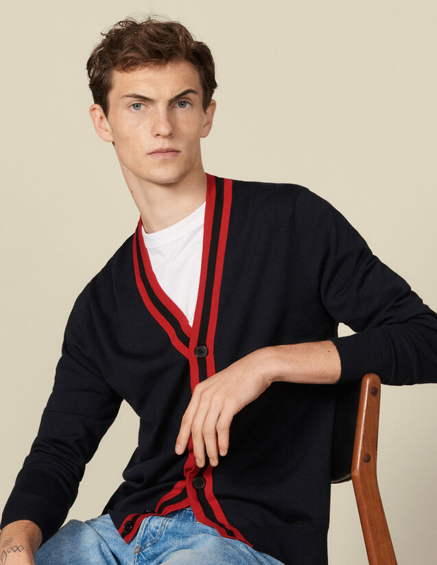 Buttoned Cardigan With Striped Trim : Sweaters & Cardigans color Navy Blue