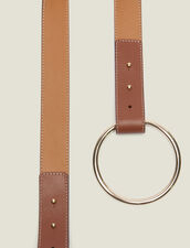 Belt With Ring Fastening : null color Camel