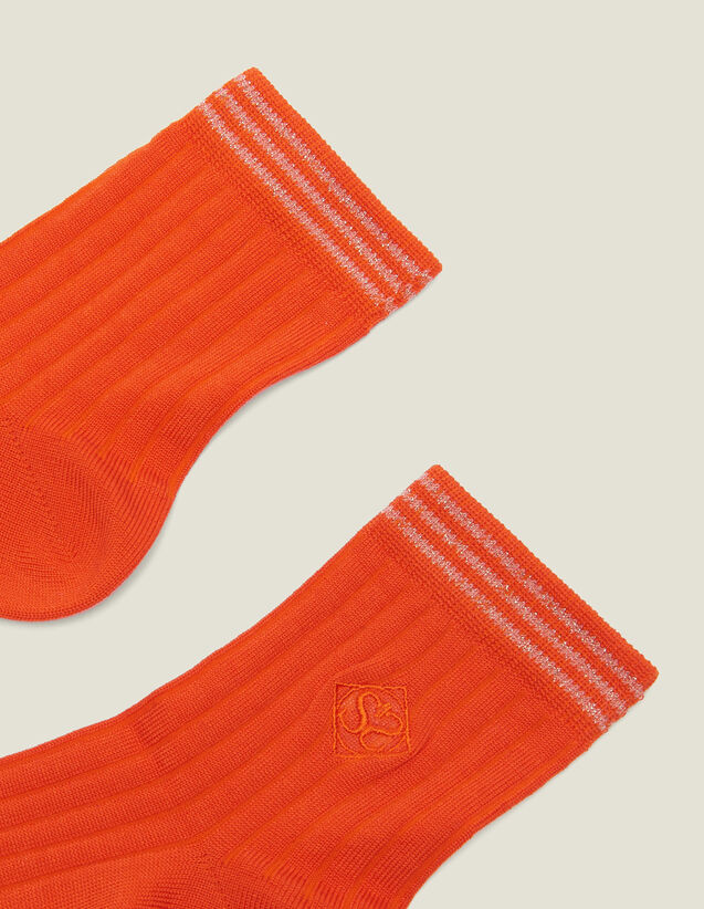 Embroidered Cotton Socks : null color Orange