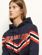 Hooded sweatshirt striped ribbed edging : Sweatshirts color Navy Blue