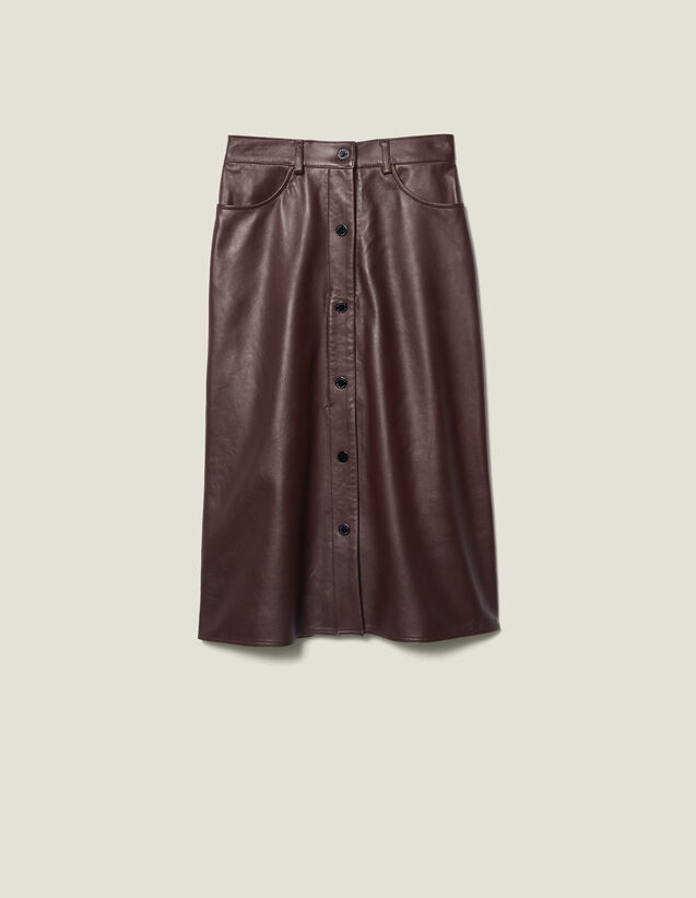 Midi Leather Skirt : FBlackFriday-FR-FSelection-30 color Brown