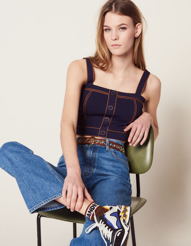 Knit Top With Large Straps : null color Navy Blue