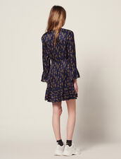 Short Printed Dress With Ruffles : All Selection color Blue