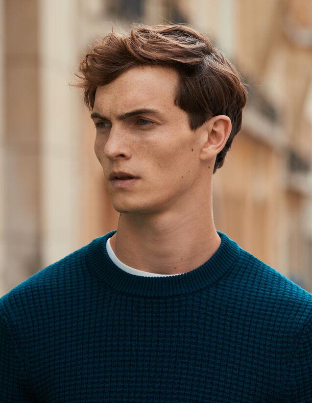 Decorative stitch sweater : Sweaters & Cardigans color Dark green