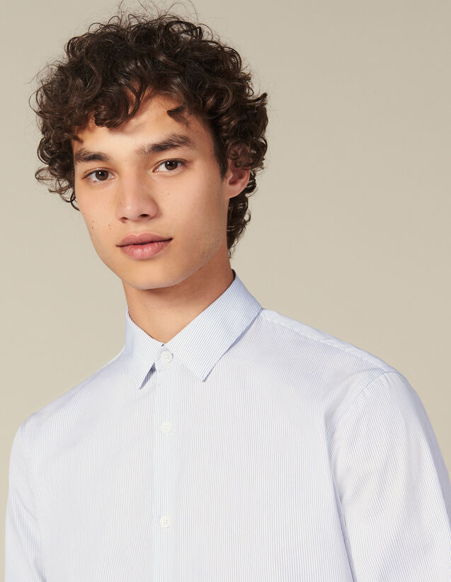 Shirt With Fine Stripes : Winter Collection color White/Blue