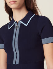 Knit Polo Dress : null color Navy Blue