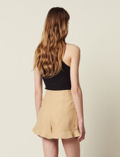 Ruffled Shorts : null color Beige