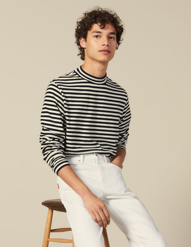 Striped Funnel Neck T Shirt : Sweaters & Cardigans color Black/Ecru