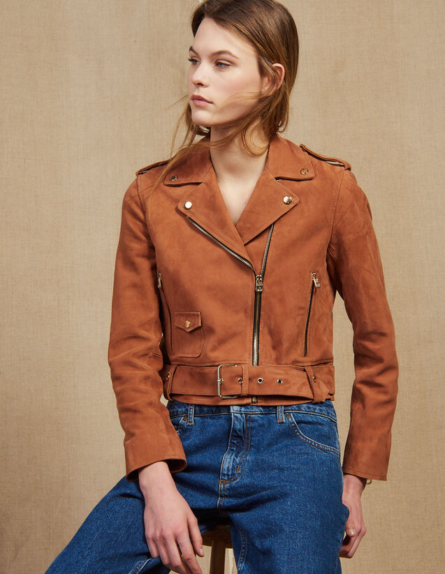 Suede Perfecto Jacket : All Selection color Terracotta
